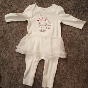 White Long Sleeve Onesie with Tutu - NWOT